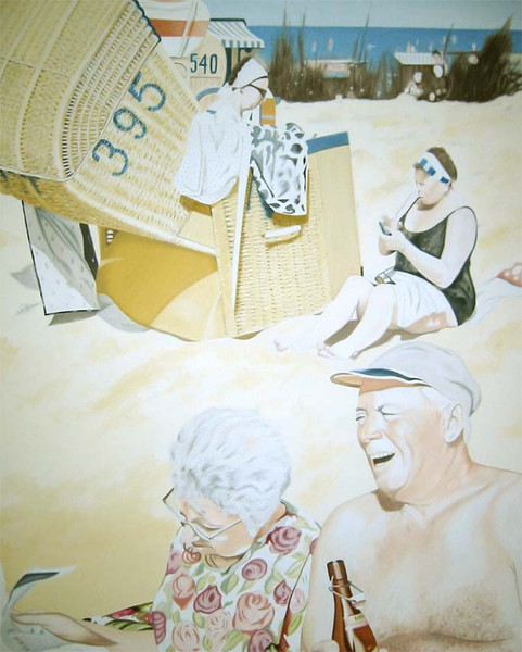 Oma, Menschen, Figural, Strand, Meer, Opa