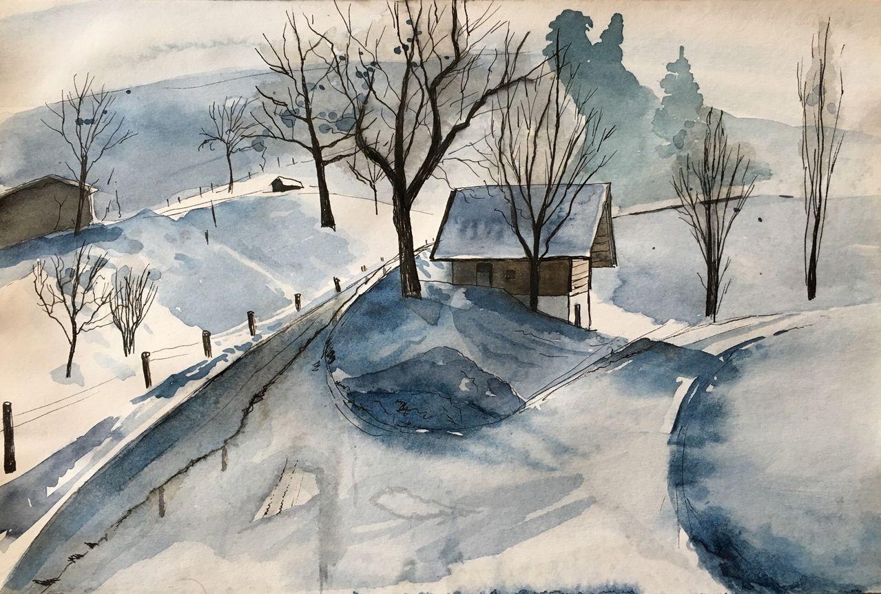 Bild skizzenbuch entwurf schnee aquarell von sabine bei kunstnet - Schneebilder kostenlos ...