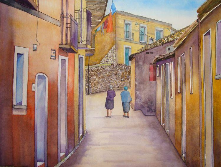 Gasse, Schweiz, Aquarellmalerei, Italien, Malters, Kalabrien