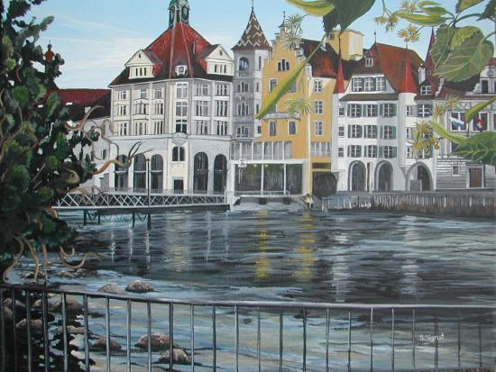 Wasser, Haus, Malerei, Luzern, Landschaft