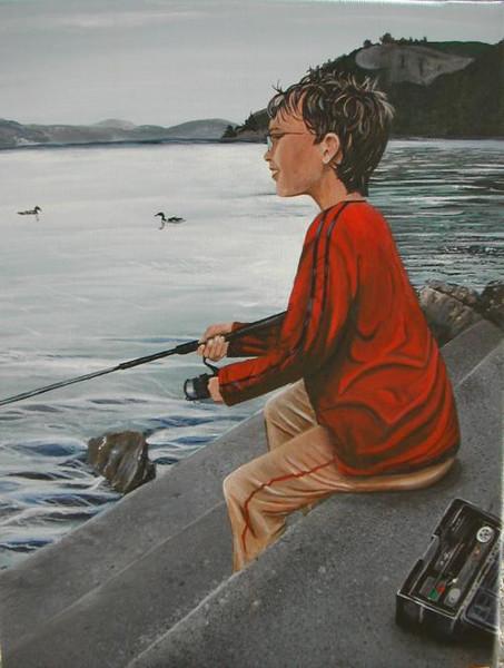 See, Malerei, Fisch, Figural, Fischen, Wasser