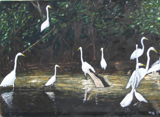 Wasser, Urwald, Vogel, Mangroven, Reiher, Malerei