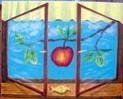 Fenster, Himmel, Apfel, Baum