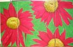 Malerei, Stillleben, Chrysantheme, Rot