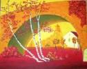Malerei, Landschaft, Rot