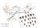 Akkordeon, Bartwunder, Zeichnung, Hase