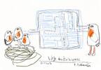 Zwitschern, Petrus, Zeichnung, Akkordeon