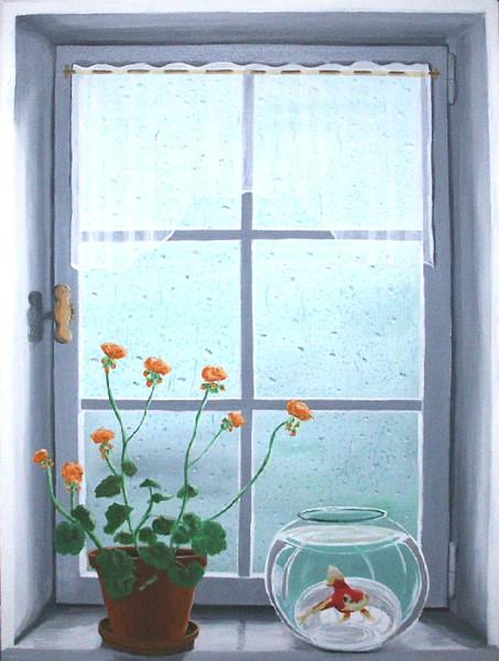 Stillleben, Malerei, Fenster