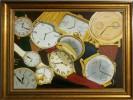 Uhr, Zeit, Malerei, Stillleben