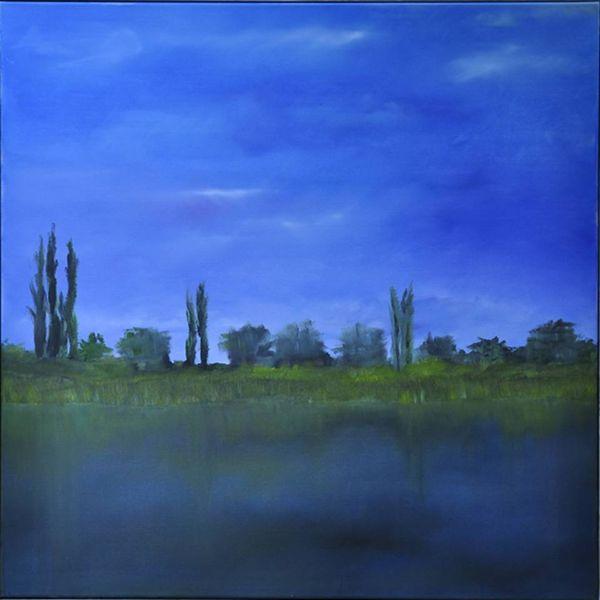 Wasser, Abend, Ognon, Ölmalerei, Fluss, Baum