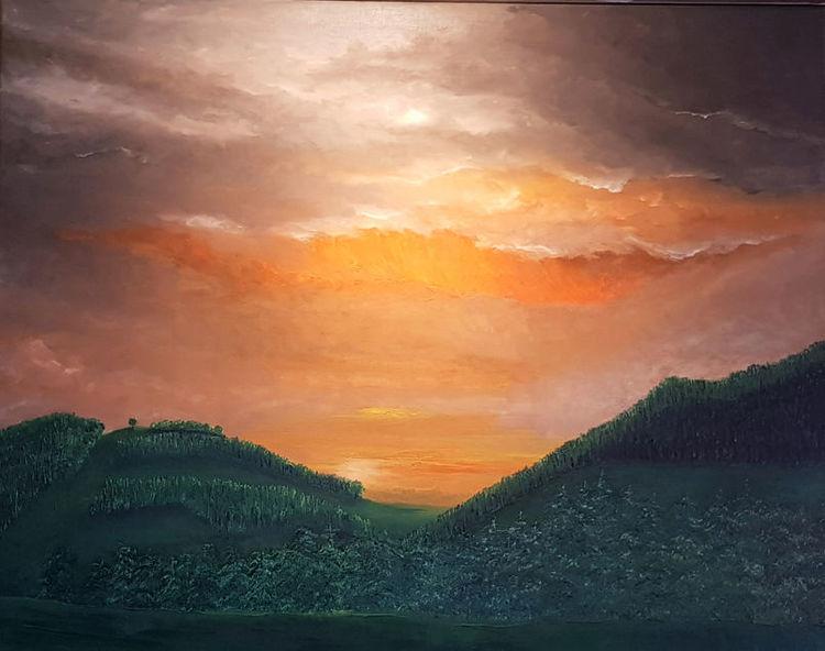 Abend, Sonnenuntergang, Emmental, Schweiz, Leuchtender himmel, Malerei