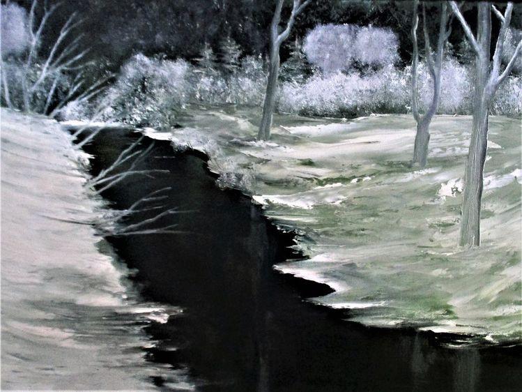 Winter, Stimmung, Schnee, Fluss, Eis, Malerei