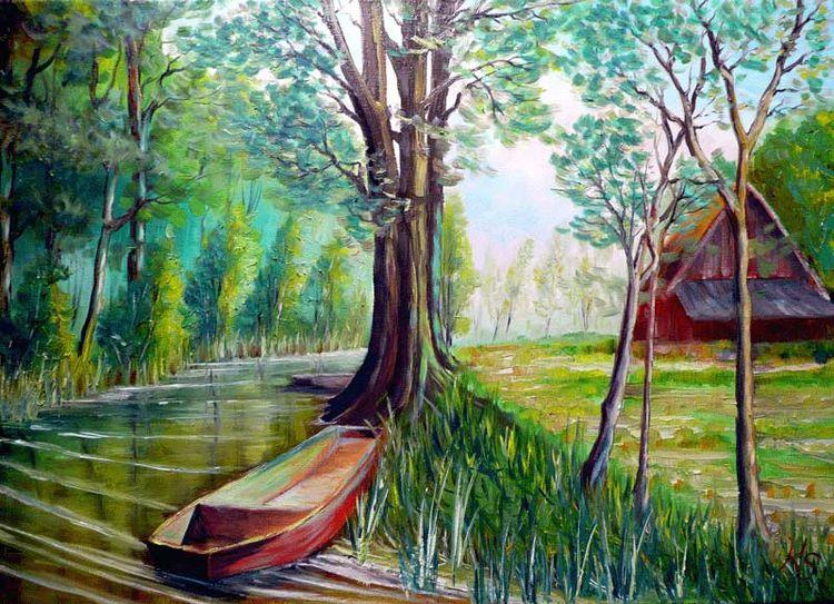 Fliess mit kahn, Spreewald, Malerei