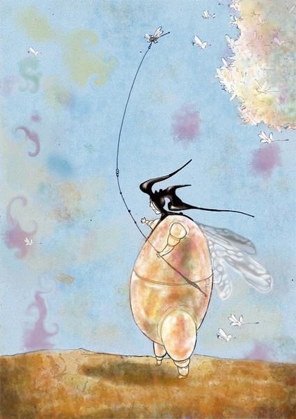 Fliegen, Mann, Grafik, Surreal