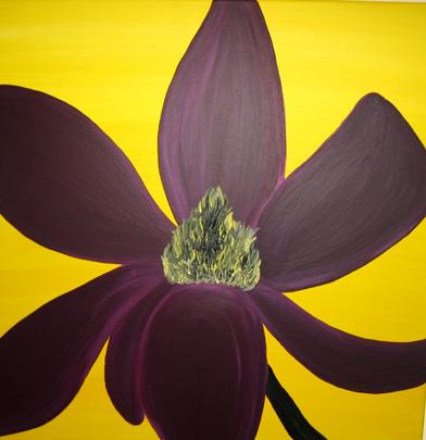 magnolie gelb lila acrylmalerei blumen von simone on. Black Bedroom Furniture Sets. Home Design Ideas