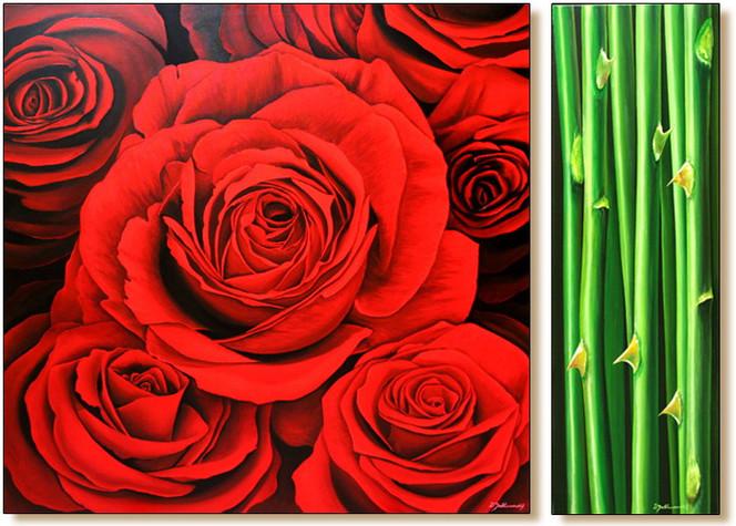 Stillleben, Malerei, Wandmalerei, Rose, Realismus, Blumen