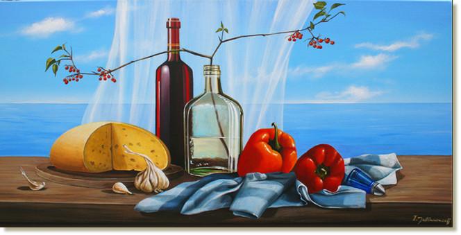 Stillleben, Illusionsmalerei, Meereslandschaft, Wein, Malerei, Modern