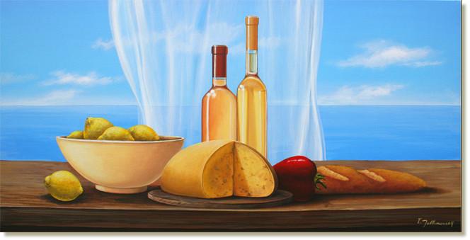 Käse, Realismus, Zitrone, Blumen, Meer, Reproduktion