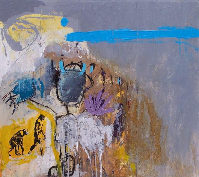 Abstrakt, Malerei, Mischtechnik, Acrylmalerei, Kohlezeichnung, Collage