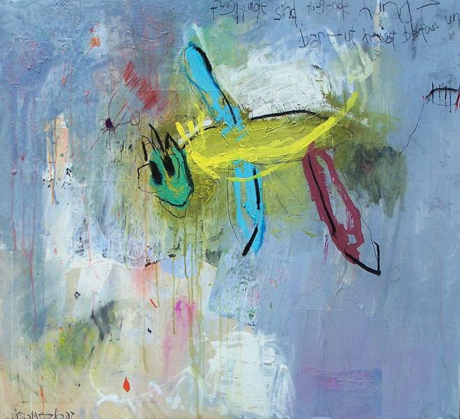 Mischtechnik, Acrylmalerei, Hund, Abstrakt, Malerei, Kohlezeichnung