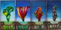 Acrylmalerei, Jahreszeiten, Malerei, Abstrakt