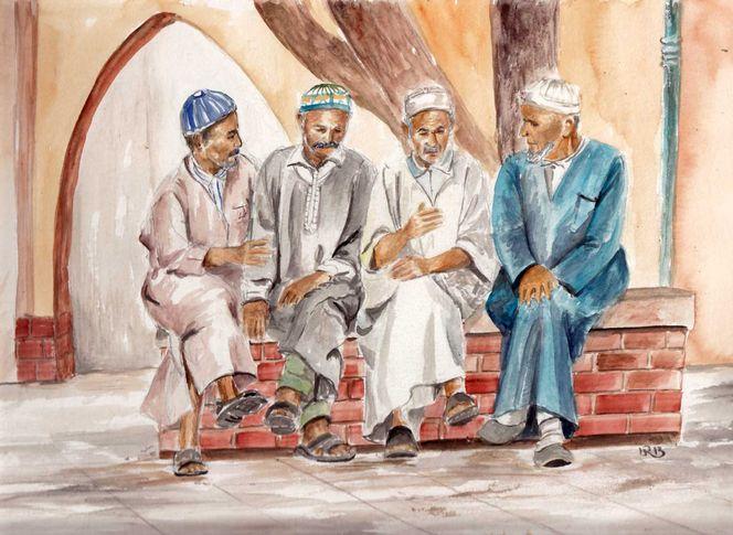 Taroudant, Hoher atlas, Mann, Gespräch, Marokko, Alt