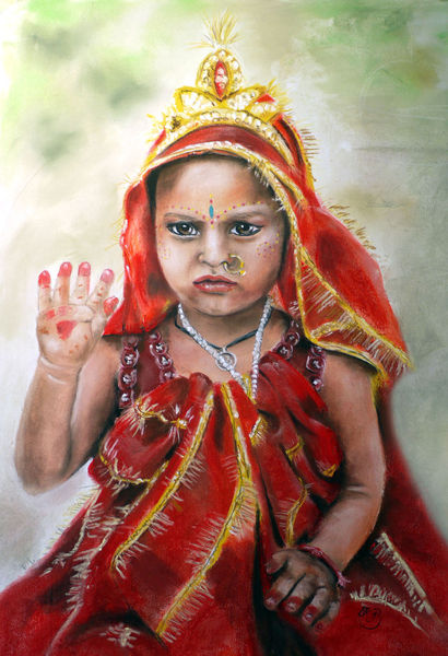 Puja, Durga, Indien, Agra, Malerei, Göttin