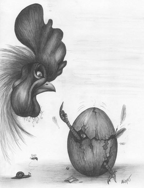 Zeichnung, Surreal, Bleistiftzeichnung, Hahn, Zeichnungen, Generation