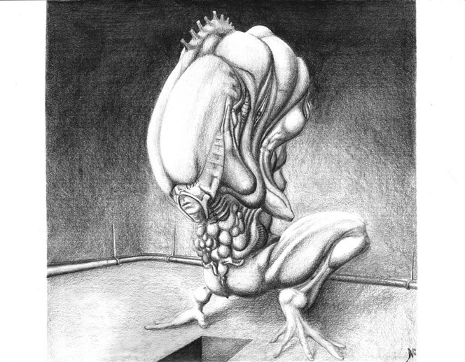 Morrigu, Wesen, Zeichnung, Bleistiftzeichnung, Surreal, Zeichnungen