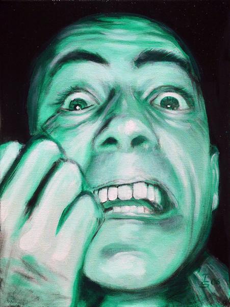 Acrylmalerei, Kaufhold, Panik, Gesicht, Malerei, Angst