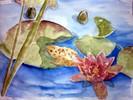 Frosch, Seerosen, Teich, Aquarellmalerei