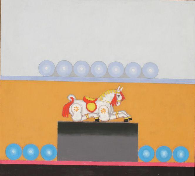 Malerei, Holzpferd, Gemälde, Stillleben, 1971,