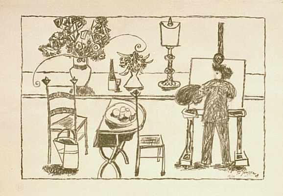 Malerei, Lithografie, 1949, Interieur, Druckgrafik,