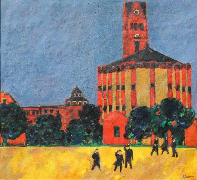 Landschaft, Kirche, Düsseldorf, Entartete kunst, Malerei, Winterfeldplatz