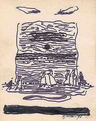 Malerei, Pfaffe, Skizze, Gemälde, 1975, Zeichnungen
