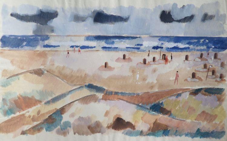 Landschaft, Malkasten malerei, Strandidylle, Nordsee, Aquarell,