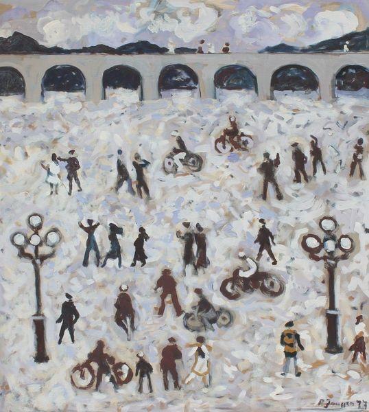 Impressionismus, Menschen, Gemälde, Malerei, Brücke, Fahrrad