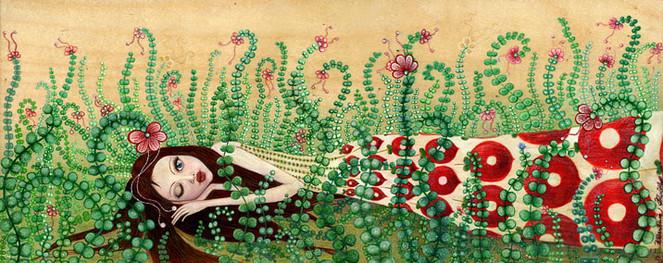 Malerei, Pflanzen, Rot, Grün, Mädchen, Holz