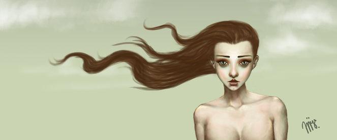 Fräulein, Pastellmalerei, Grün, Mädchen, Hell, Wip
