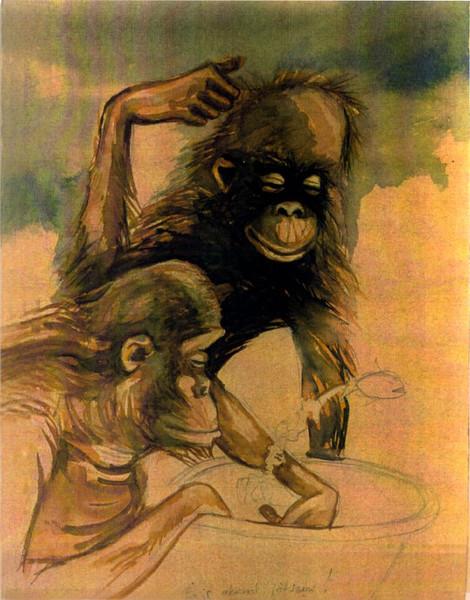Aquarellmalerei, Teirzeichnung, Affe, Aquarell, Tiere, Spielen