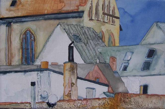 Mecklenburg, Östlich, Rostock, Aquarellmalerei, Altstadt, Stadtmauer