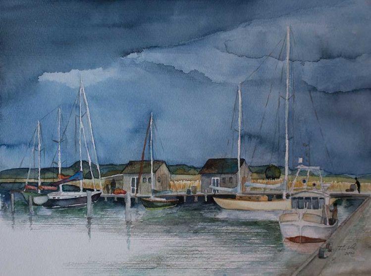 Gager, Rügen aquarell, Aquarellmalerei, Mönchgut, Maritim, Hafen von gager