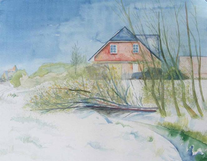 Sanitz, Aquarellmalerei, Malerei, Winter