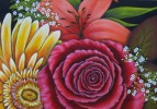 Malerei, Gerbera, Rose, Lilie