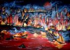 Feuer, Rot, Brand, Malerei