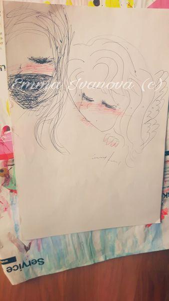 Kugelschreiber, Bit, Comic, Engel, Kuss, Beißen