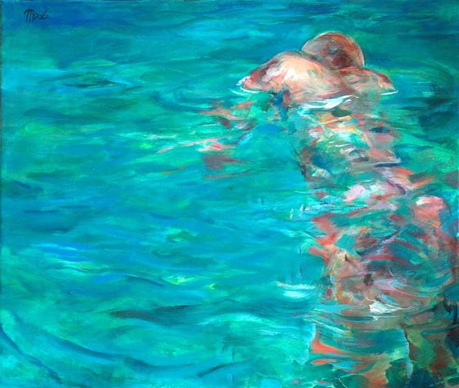 Spiegel, Schwimmer, Farbgehäcksel, Figural, Malerei, Wasser