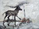 Gefällig, Zebra, Malerei, Weiß
