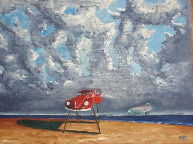 Käfer, Malerei, Welt, Wolken, Surreal, Ende
