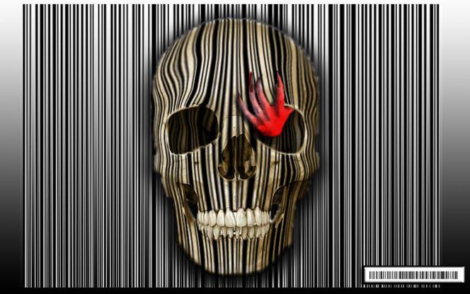 Strichcode, Rot, Hand, Surreal, Schädel, Teufel